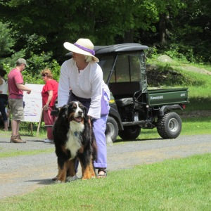 Sandy owner with her husband of Johnson Hill Farm and their dog Roxy