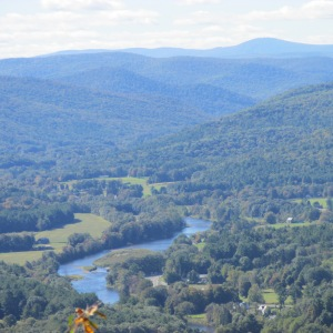 VIEWS PF THE DEERFIELD RIVER AND MT. GRAYLOCK IN THE BACKGROUND