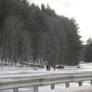 ICE FISHERPEOPLE ON THE BACK WAY TO BRATTLEBORO