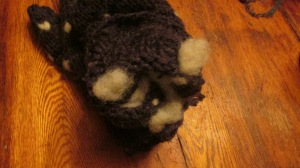 inside of a fleece lined mitten